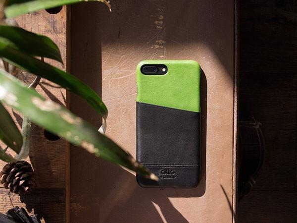 alto iPhone 8 Plus/iPhone 7 Plus真皮手機殼背蓋5.5吋 Metro - 萊姆綠/渡鴉黑【可加購客製雷雕】皮革保護套