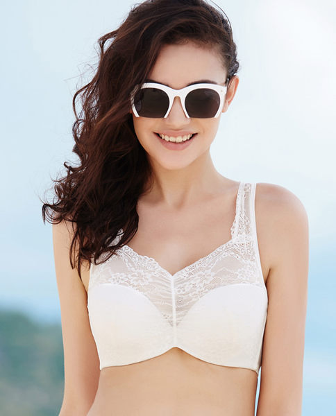 蕾丝薄杯聚拢宽肩带背心式抹胸舒适胸罩-ami008
