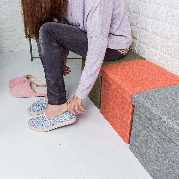 樂嫚妮 收納箱 折疊 收納椅凳 換季衣物收納箱 27L