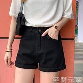 黑色高腰牛仔短褲女新款春夏韓版學生顯瘦寬鬆a字寬管熱褲潮 至簡元素