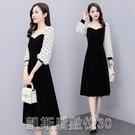 洋裝2021春季新款韓國絨方領拼接雪紡植絨波點氣質連身裙 【快速出貨】
