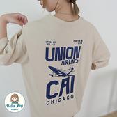 【正韓直送】UNION螺旋飛機圓領短袖上衣 3色 飛機酷帥 圓領上衣 棉質女裝 哈囉喬伊 G173