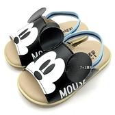 《7+1童鞋》迪士尼 Mickey 米奇造型 真皮後帶學步拖鞋 E023 黑色