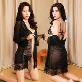 成人情趣內衣透明睡衣雪紡性感透視三點式系帶浴袍夜店激情套裝 森雅誠品