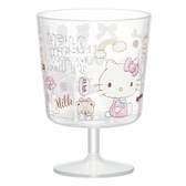 〔小禮堂〕Hello Kitty 日製無把透明塑膠矮腳杯《粉.磅秤坐姿》260ml.派對杯.飲料杯 4973307-44632