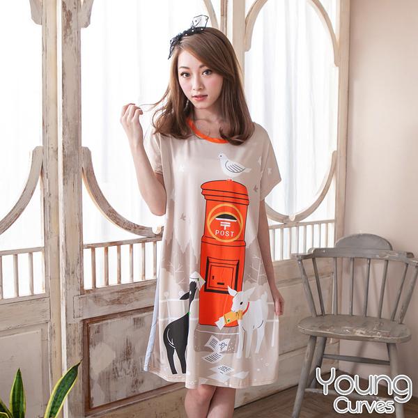 Young Curves 牛奶絲質短袖連身睡衣(C01-100571羊咩咩郵差)