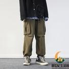 日系工裝褲女素色多口袋中性風束腳長褲男女同款寬鬆直筒褲【創世紀生活館】