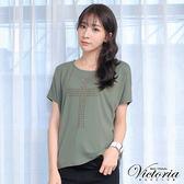 Victoria  星星貼片寬鬆短袖T-女-綠色