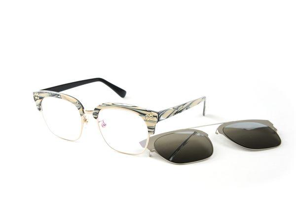 YuYu-ChangChiaYu 時尚太陽眼鏡 BEING 平光系列+ 前掛式太陽眼鏡- 乳白色(乳白誠懇)