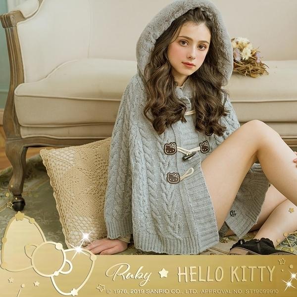 外套 Hello Kitty x Ruby 聯名款.麻花牛角扣連帽針織斗篷外套-Ruby s 露比午茶