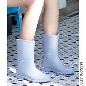 雨鞋女韓國可愛水鞋女士中筒防水時尚款外穿水靴防滑膠鞋成人雨靴 漾美眉韓衣