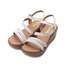 LUZZI 牛皮編織楔形涼鞋 米 女鞋