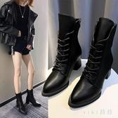 大碼粗跟馬丁靴女2019新款秋鞋英倫風百搭系帶高跟短靴 XN7289【VIKI菈菈】