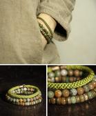 個性復古綠石珠子手鏈特色飾品多層混搭/設計家