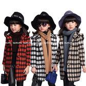 千鳥格毛呢長版大衣 中大童連帽外套 FM15201 好娃娃童裝