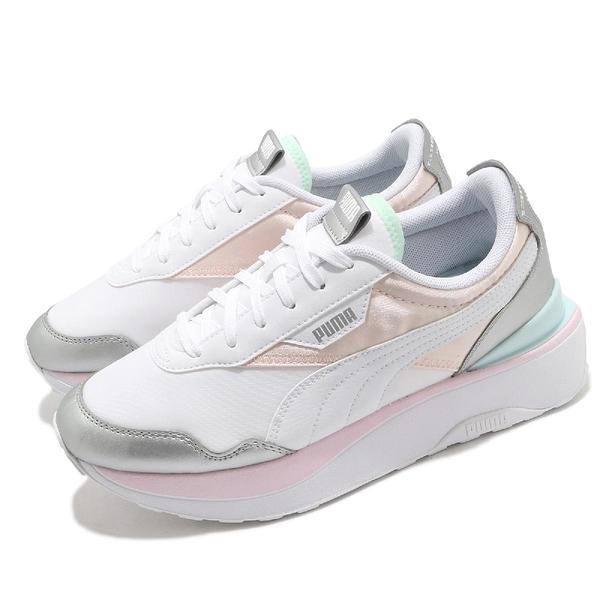 Puma 休閒鞋 Cruise Rider Chrome Wns 白 粉紅 藍 厚底 女鞋【ACS】 38050003