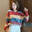 針織毛衣 重工亮片撞色復古條紋時髦洋氣軟糯針織毛衣 依多多