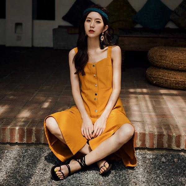 洋裝 韓系氣質吊帶裙顯瘦排釦無袖連身裙 花漾小姐【預購】
