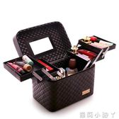 化妝盒大容量韓國化妝包多功能小號方袋便攜手提多層化妝品收納盒簡約箱 蘿莉小腳丫
