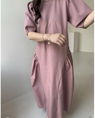 洋裝連身裙韓式設計感拼接優雅長款連身裙7631#NE440.1號公館