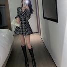 禮服 小香輕奢小眾高端年會禮服千鳥格西裝連衣裙2021年新款女春季【快速出貨好康八折】