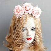 新款舞蹈表演頭花網紗面具派對舞會公主cos頭飾伴娘發飾品面罩女