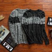 針織毛衣-圓領撞色字母裝飾修身男針織衫2色73pg56[巴黎精品]