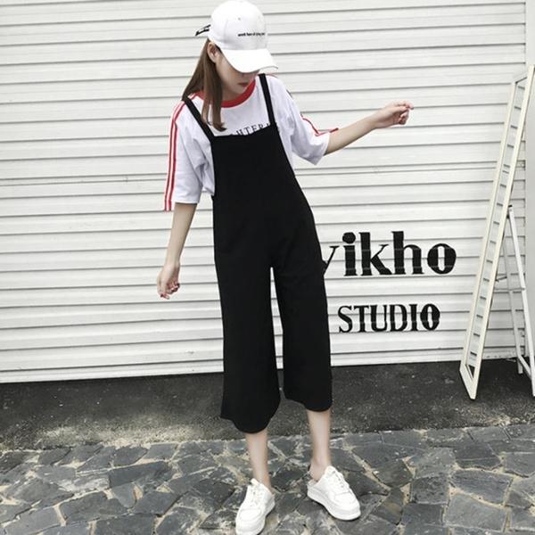 吊帶褲—夏季新款女裝韓版寬鬆顯瘦黑色吊帶褲女學生休閒寬管連身褲潮