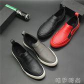 皮鞋 秋季男鞋潮流百搭低幫板鞋青年休閒黑皮鞋韓版一腳蹬懶人樂福鞋子 唯伊時尚