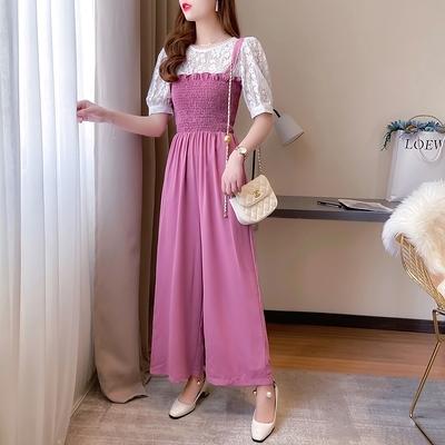 短袖套裝~7430#網紅女神套裝甜美減齡蕾絲衫 遮肉顯瘦闊腿連體背帶褲H311-E胖妞衣櫥