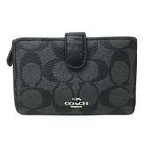 【COACH】展示品專櫃新款CC LOGO 防刮PVC皮革中夾證件夾(黑灰)