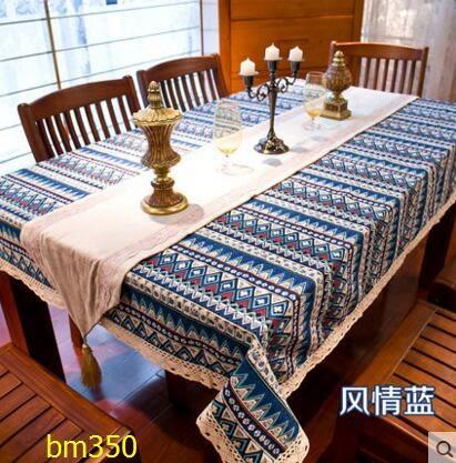 波西米亞民族風桌布套裝歐式田園桌布布藝棉麻地中海臺布茶几布(90*140cm桌布)