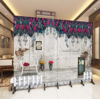 設計師美術精品館簡約現代簡易屏風隔斷玄關折屏座屏障時尚客廳實木酒店辦公室移動