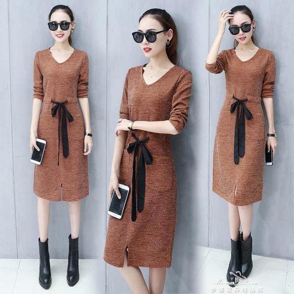 長袖洋裝洋裝女裝新款長袖顯瘦中長款加厚打底針織毛衣裙子  『夢娜麗莎精品館』