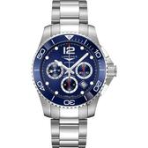 LONGINES 浪琴 深海征服者浪鬼陶瓷計時潛水機械錶-藍/43mm L38834966
