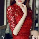 復古氣質修身旗袍裙子中長款小禮服紅色蕾絲...