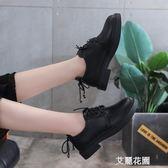 黑色軟妹加絨小皮鞋女學院風2019秋季新款單鞋女平底清新學生女鞋『艾麗花園』