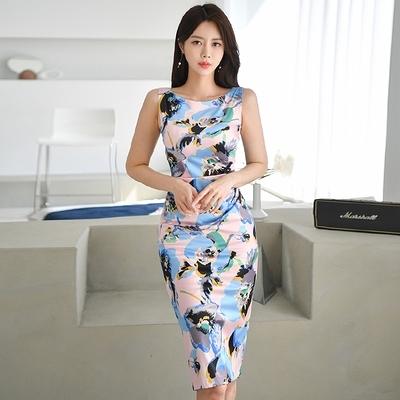 洋裝OL連身裙S-XL3268#夏季韓版氣質圓領無袖修身顯瘦中長款印花連身裙NA07B快時尚