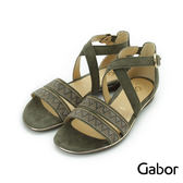【GABOR 促銷9折】水鑽雙寬帶繞踝皮革涼鞋 墨綠 81.601.15 女鞋