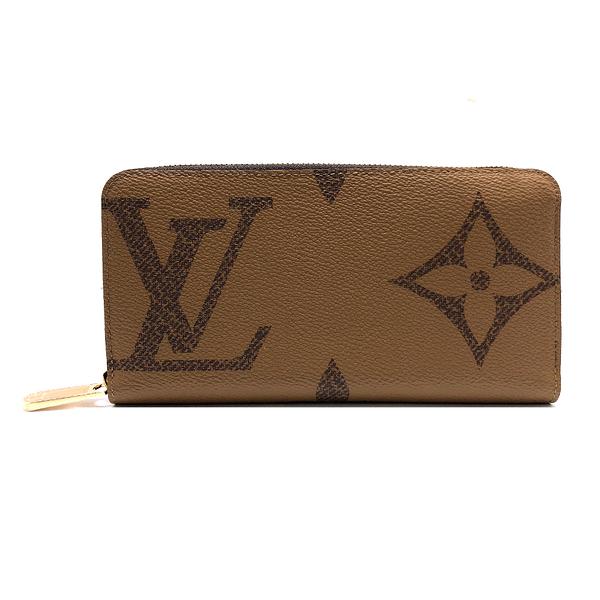 【台中米蘭站】全新品 Louis Vuitton Giant Monogram Reverse 帆布拉鍊長夾(M69353-咖)