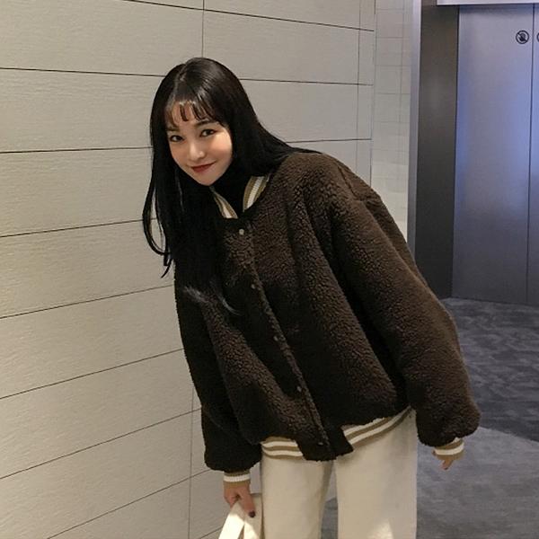 【限時下殺89折】飛行外套 羊羔毛外套女冬短款加厚毛絨棒球服正韓學生寬鬆夾克小個子短外套