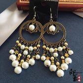 歐美復古名媛風范耳環時尚夸張波西米亞流蘇珍珠古銅長款串珠耳飾【萬聖節推薦】