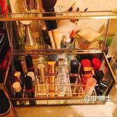化妝品收納盒桌面化妝品口紅收納盒玻璃架子翻蓋防塵透明唇膏彩妝整理盒防水韓1件免運WY