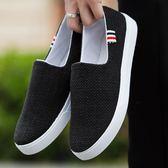 老北京布鞋男鞋夏季透氣韓版板鞋男士休閒鞋帆布鞋子男懶人一腳蹬