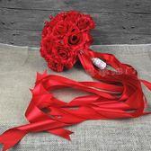 婚禮新娘結婚手工紅色中式花束影樓拍攝道具