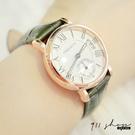 Gaze.REBIRTH品牌。立體羅馬刻度日曆秒針圈鱷魚紋皮革錶帶手錶【ta030】911 SHOP