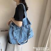牛仔包 牛仔帆布包女側背包女包大容量包包2021新款韓版潮學生百搭托特包 曼慕