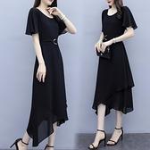 洋裝中大尺碼 2020甜美大碼新款夏裝胖MM收腰顯瘦連身裙氣質小黑裙個性設計洋氣長裙