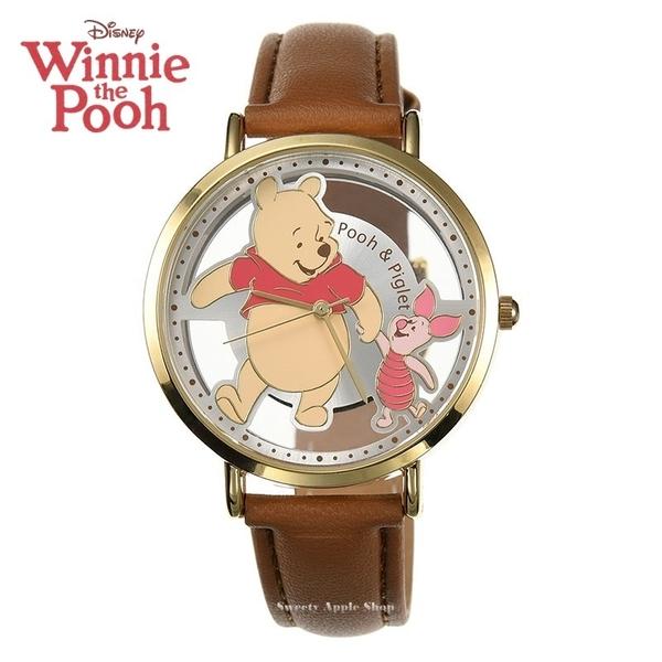 日本正版限定 SUN FLAME 迪士尼 小熊維尼&粉紅小豬 手牽手版 皮革時尚腕錶 / 手錶