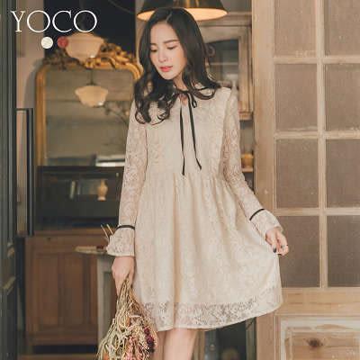 東京著衣【YOCO】甜美透肌滿版蕾絲荷葉綁帶洋裝-S.M.L(172787)